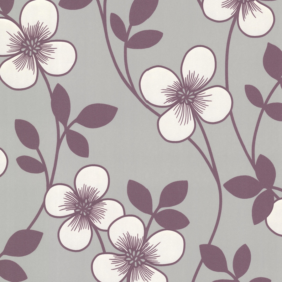 Brewster Wallcovering Purple/Grey Paper Floral Wallpaper