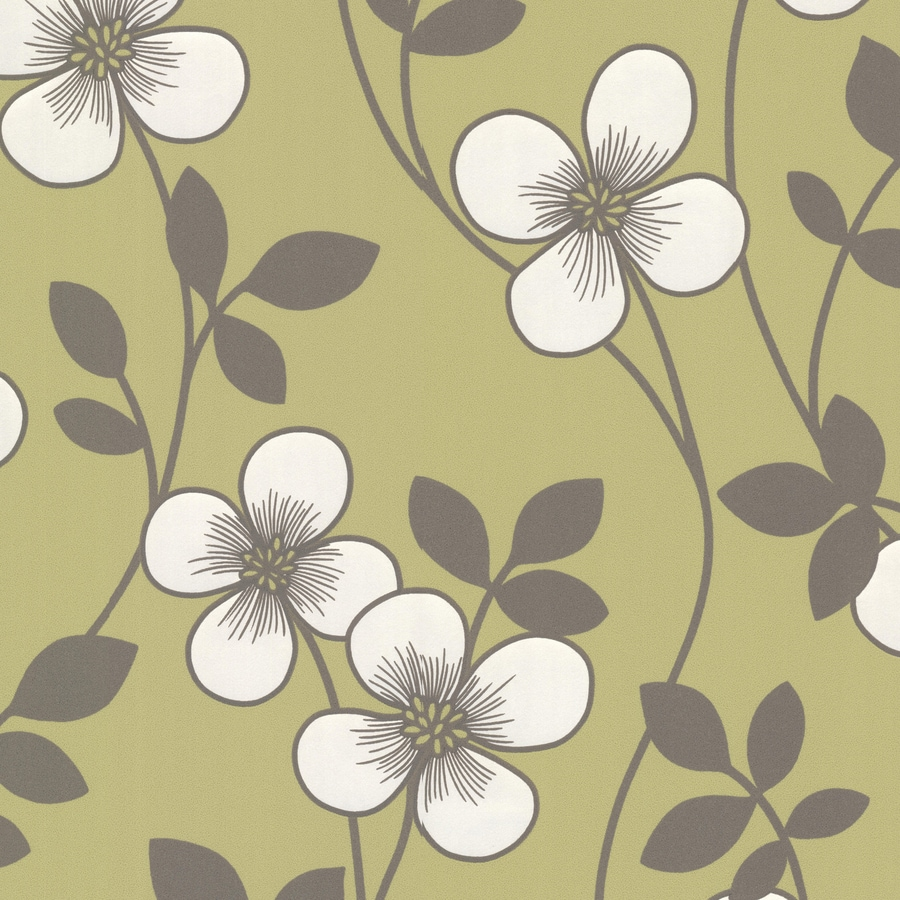 Brewster Wallcovering Elements Light Green Non-Woven Floral Wallpaper