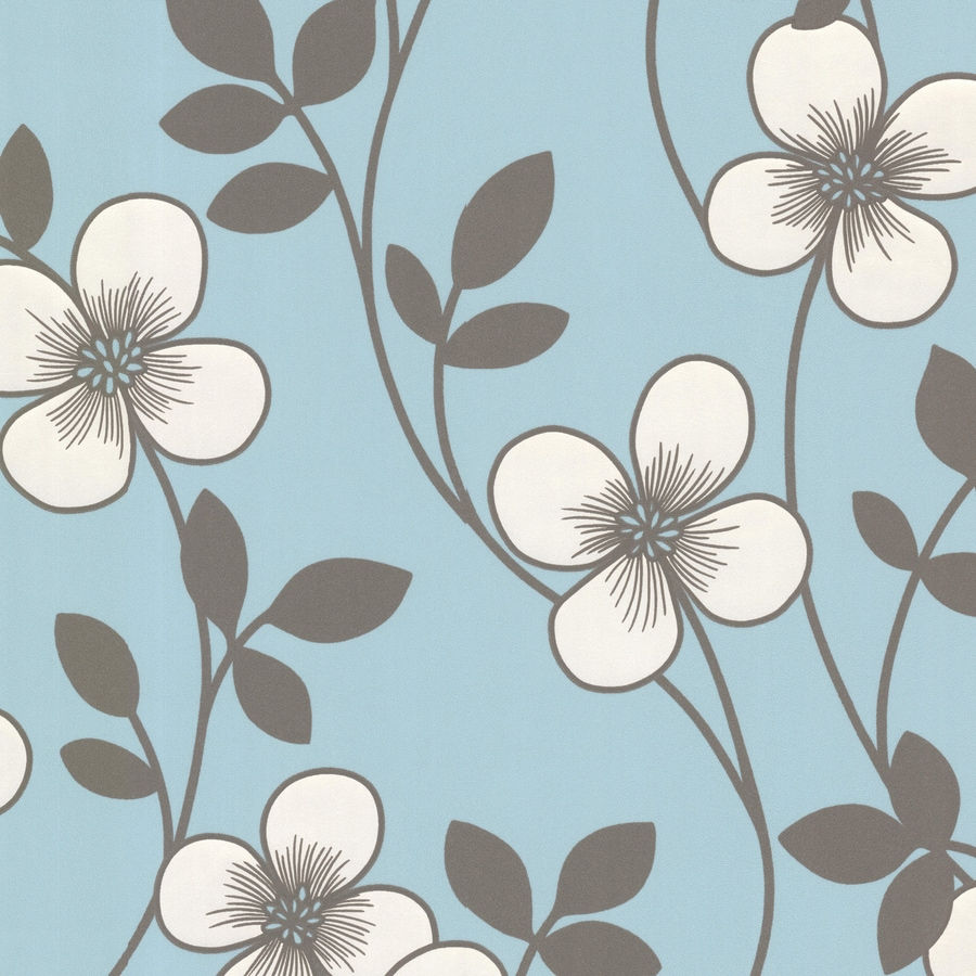 Brewster Wallcovering Light Blue Paper Floral Wallpaper