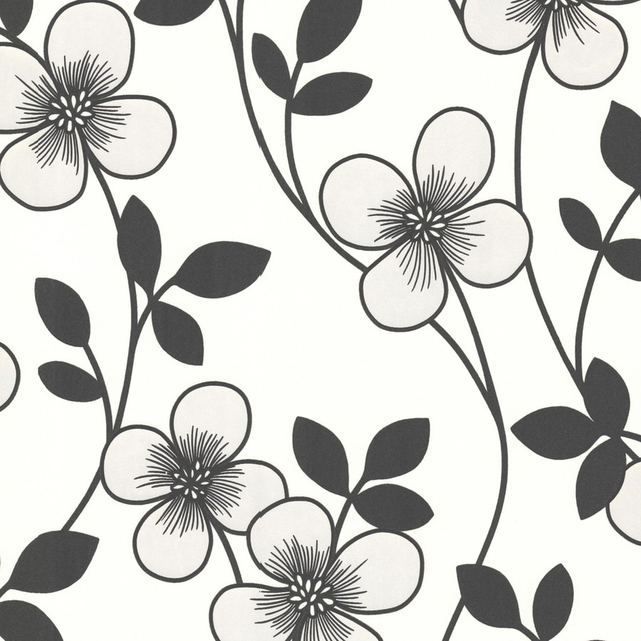 Brewster Wallcovering Elements Black/White Non-Woven Floral Wallpaper