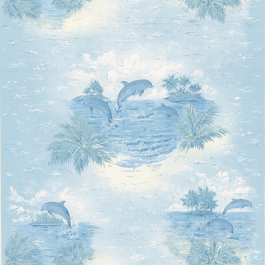 Brewster Wallcovering Kitchen and Bath Resource III Blue Vinyl Fish Wallpaper
