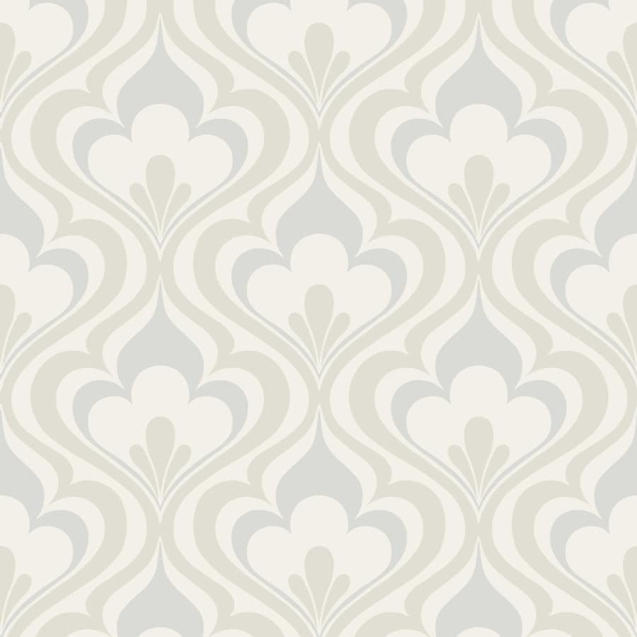 Brewster Wallcovering Grey Paper Damask Wallpaper
