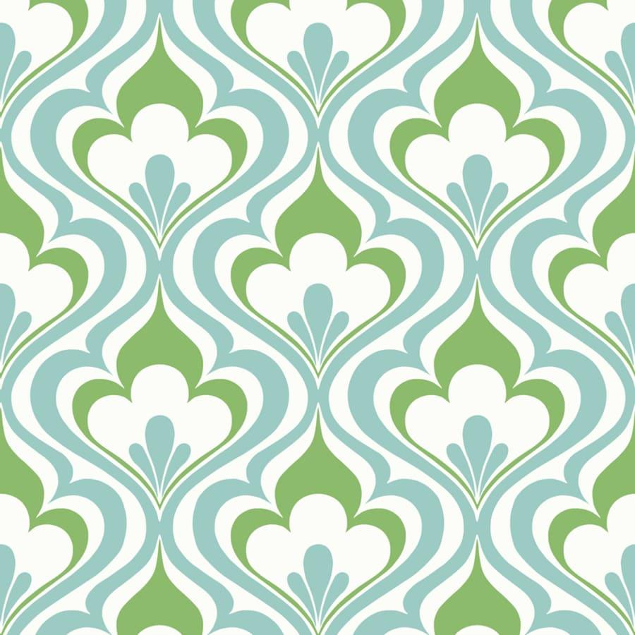 Brewster Wallcovering Blue Paper Damask Wallpaper