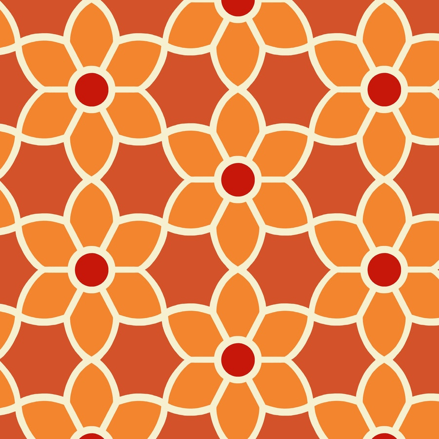 Brewster Wallcovering Orange/Red Paper Floral Wallpaper