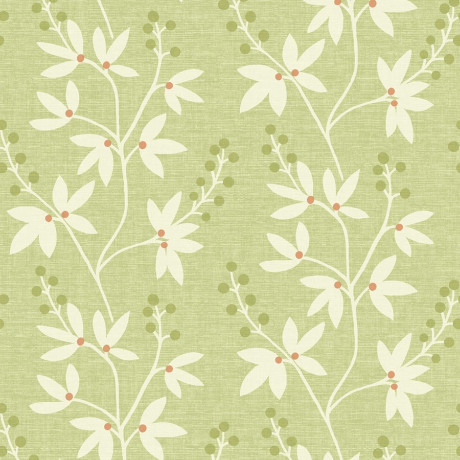 Brewster Wallcovering Simple Space 2 56-sq ft Green Non-Woven Floral  Wallpaper