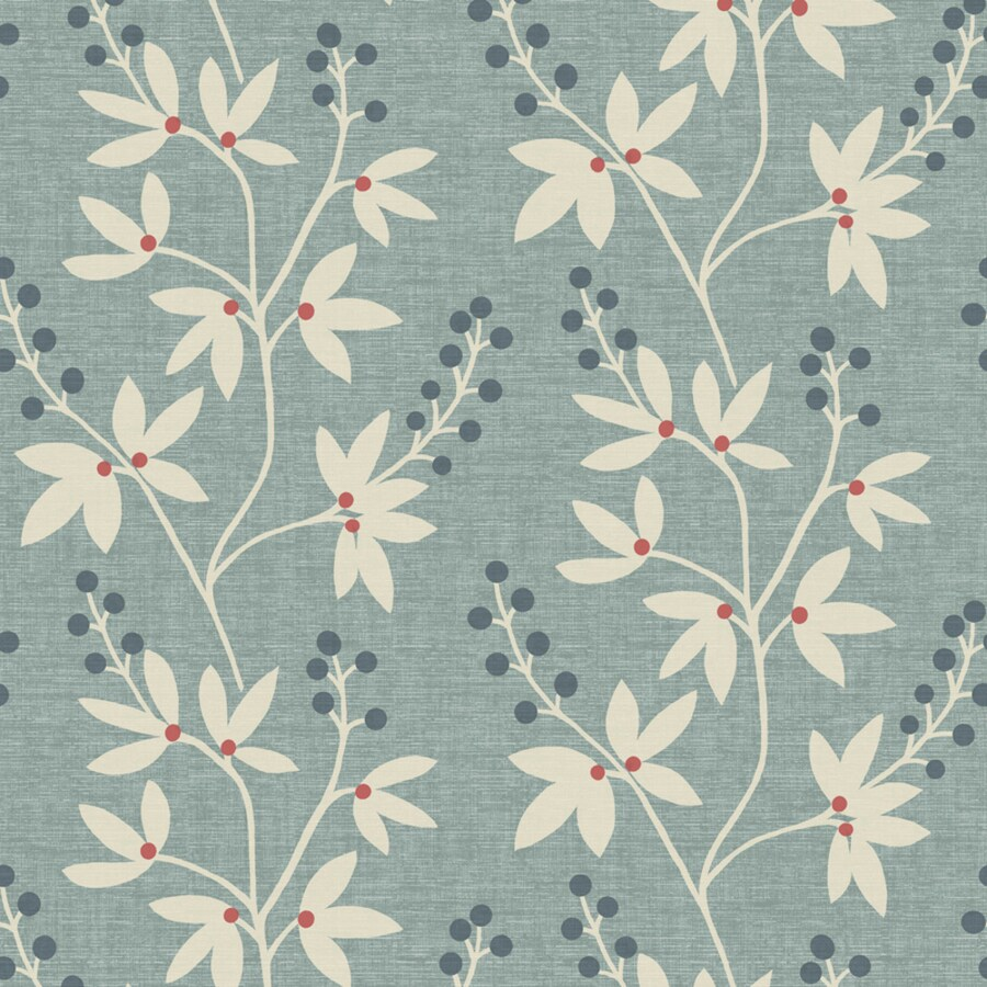 Brewster Wallcovering Simple Space 2 Blue Non-Woven Floral Wallpaper