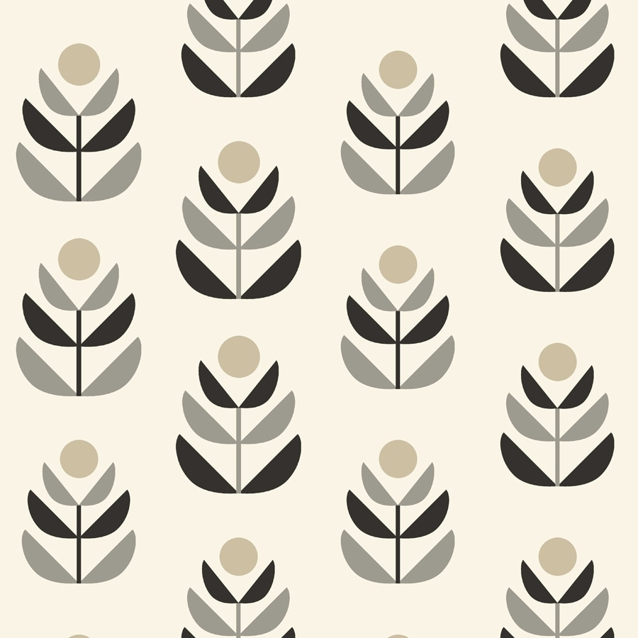 Brewster Wallcovering Simple Space 2 White/Black Non-Woven Floral Wallpaper