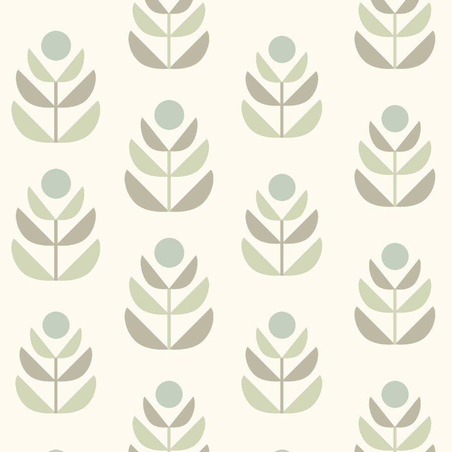 Brewster Wallcovering Simple Space 2 56-sq ft White/Grey Non-Woven Floral  Wallpaper