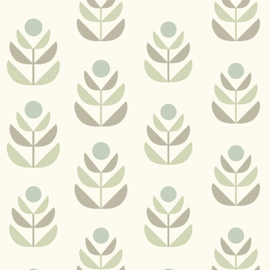 Brewster Wallcovering Simple Space 2 White/Grey Non-Woven Floral Wallpaper