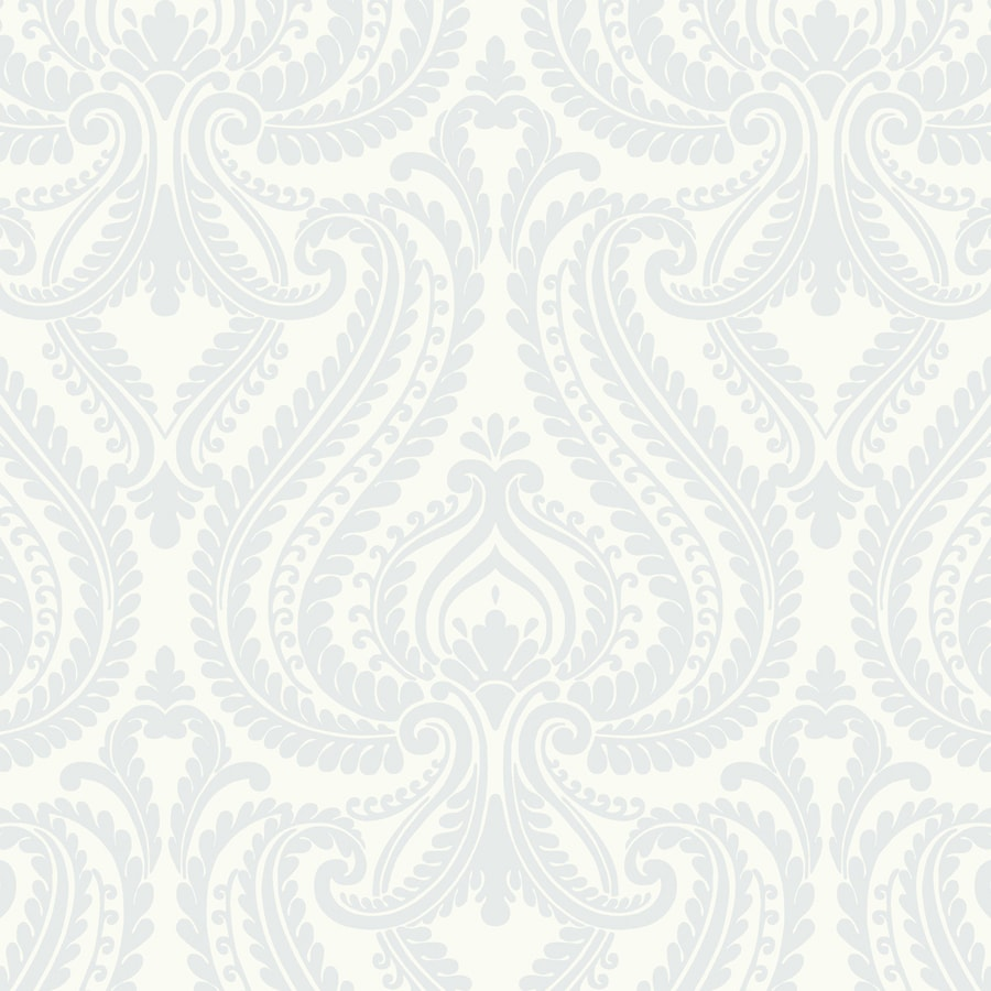 Brewster Wallcovering Simple Space 2 White/Blue Non-Woven Damask Wallpaper