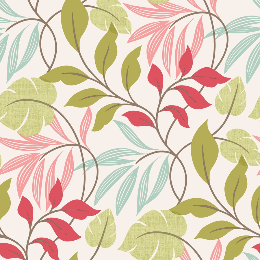 Brewster Wallcovering Simple Space 2 White/Pink Non-Woven Ivy/Vines Wallpaper