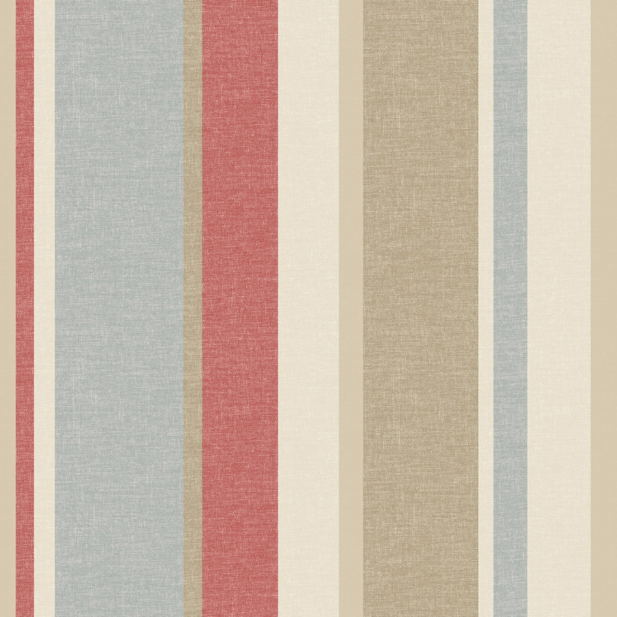 Brewster Wallcovering Cream/Red Paper Stripes Wallpaper