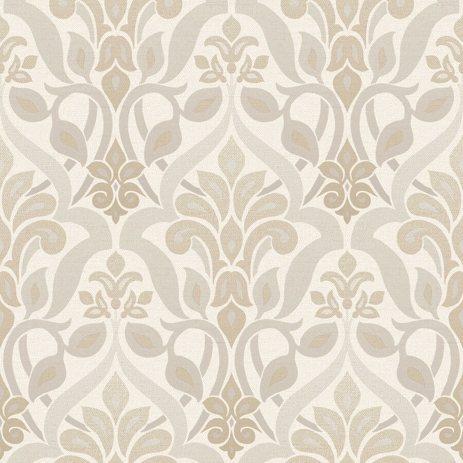 Brewster Wallcovering Simple Space 2 White/Grey Non-Woven Damask Wallpaper