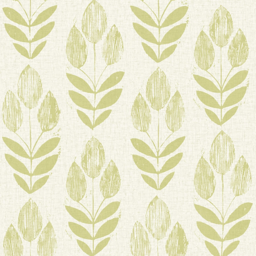 Brewster Wallcovering White/Green Paper Floral Wallpaper