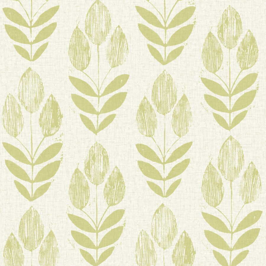 Brewster Wallcovering Simple Space 2 White/Green Non-Woven Floral Wallpaper