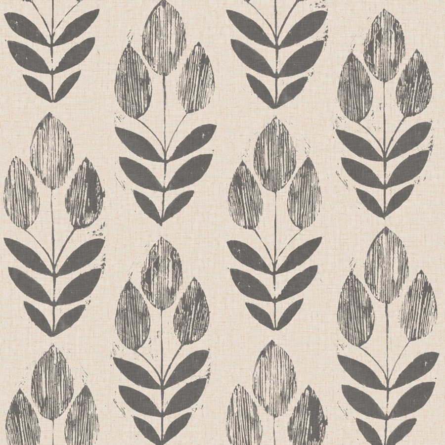 Brewster Wallcovering White/Black Paper Floral Wallpaper