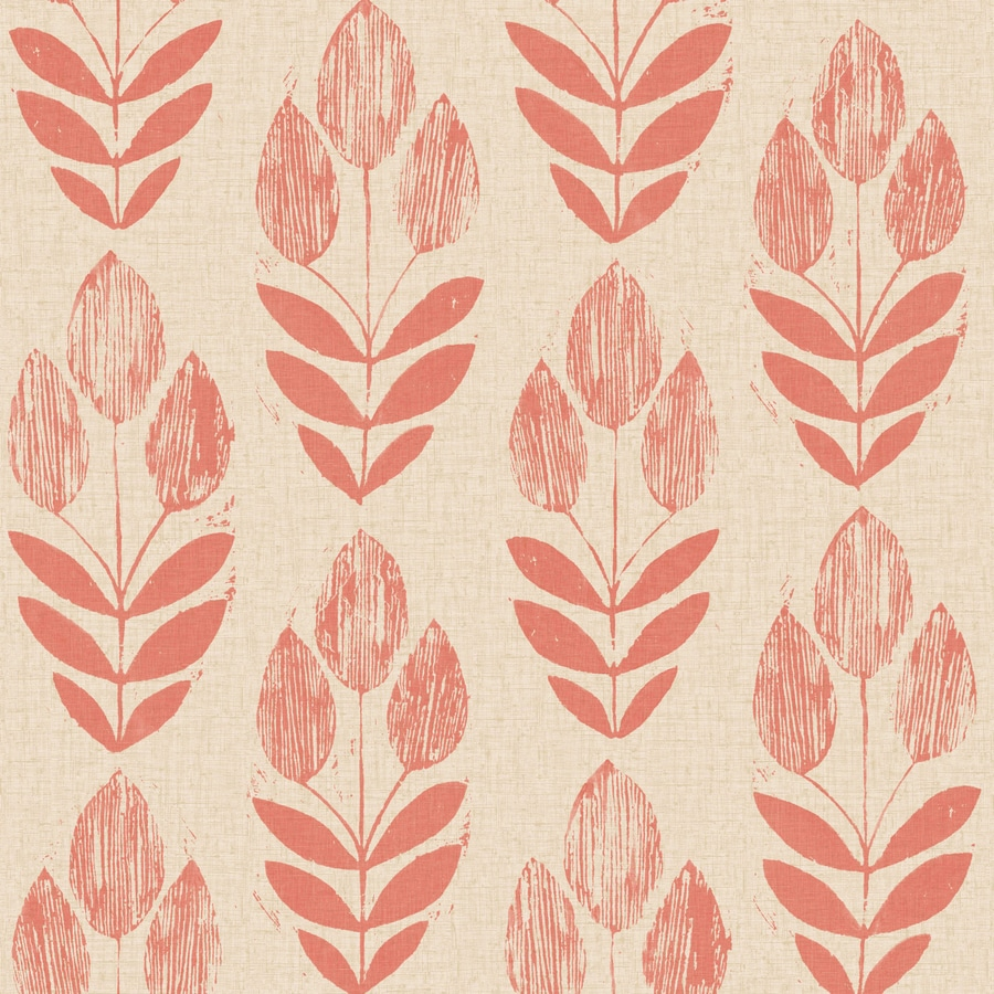 Brewster Wallcovering Simple Space 2 White/Red Non-Woven Floral Wallpaper