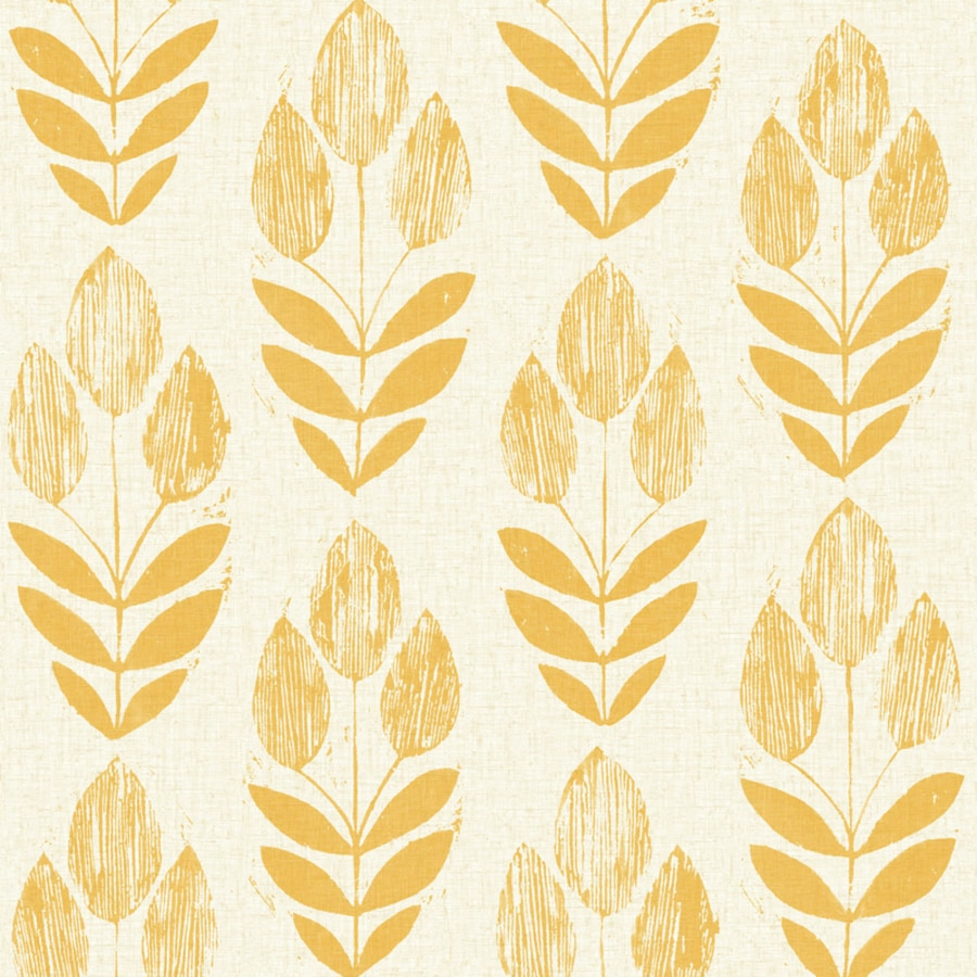 Brewster Wallcovering White/Yellow Paper Floral Wallpaper