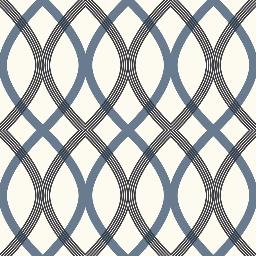 Brewster Wallcovering White/Blue Classic Geometric Wallpaper