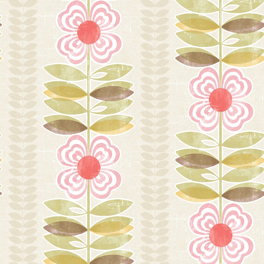 Brewster Wallcovering Simple Space 2 56-sq ft White/Pink Non-Woven Floral  Wallpaper