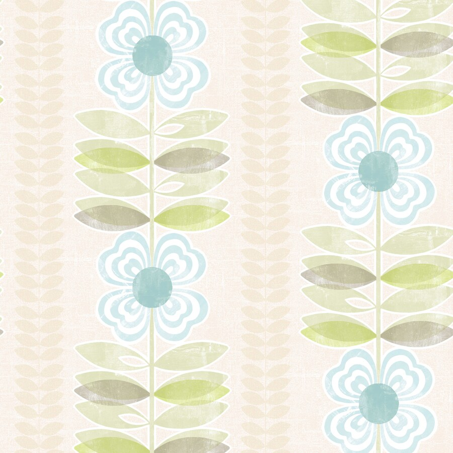 Brewster Wallcovering Simple Space 2 White/Blue Non-Woven Floral Wallpaper