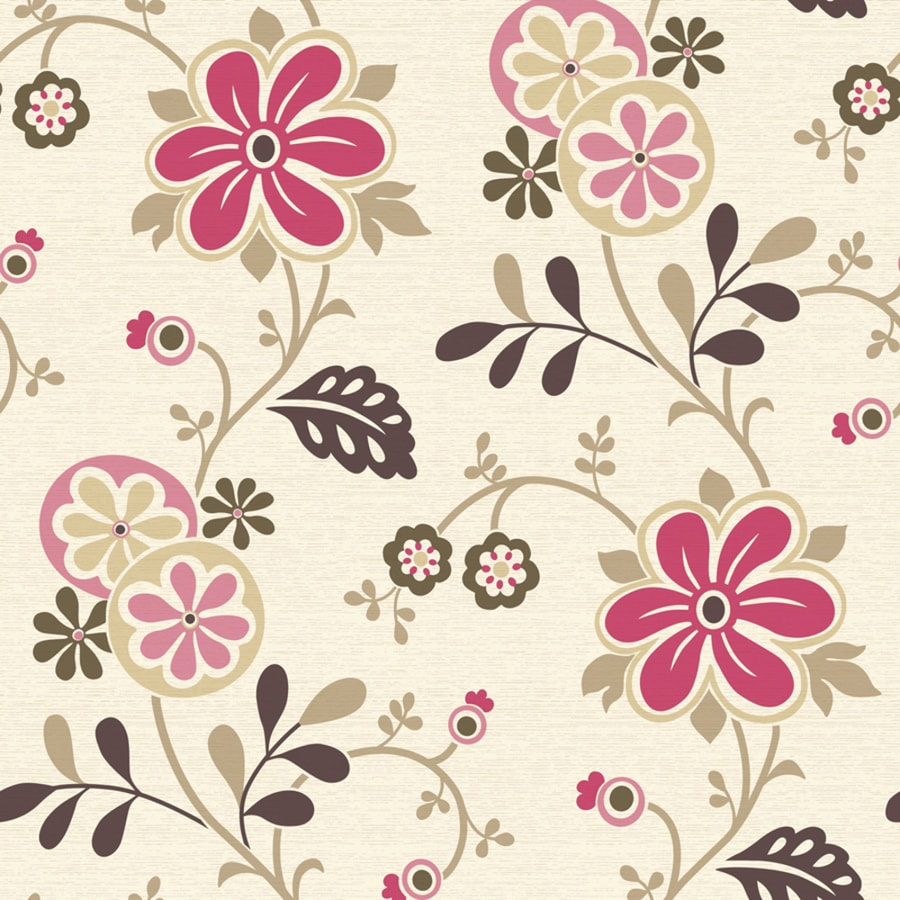 Brewster Wallcovering Simple Space 2 White/Pink Non-Woven Floral Wallpaper