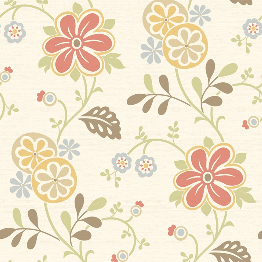 Brewster Wallcovering White/Red Classic Floral Wallpaper