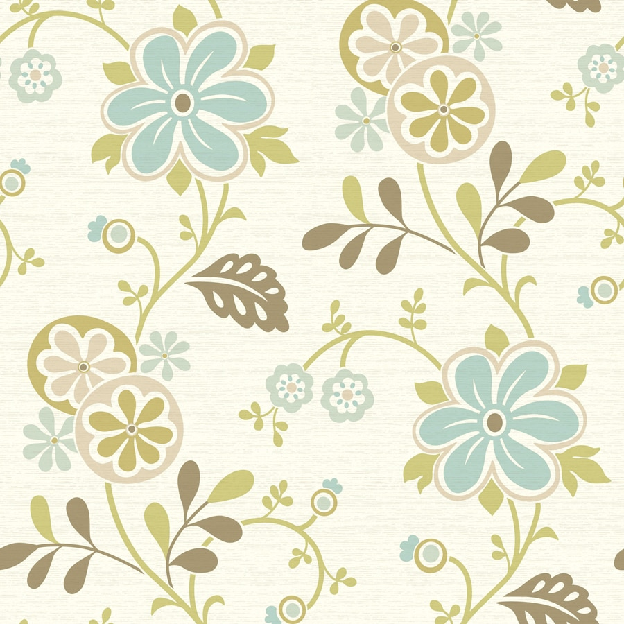 Brewster Wallcovering White/Blue Classic Floral Wallpaper