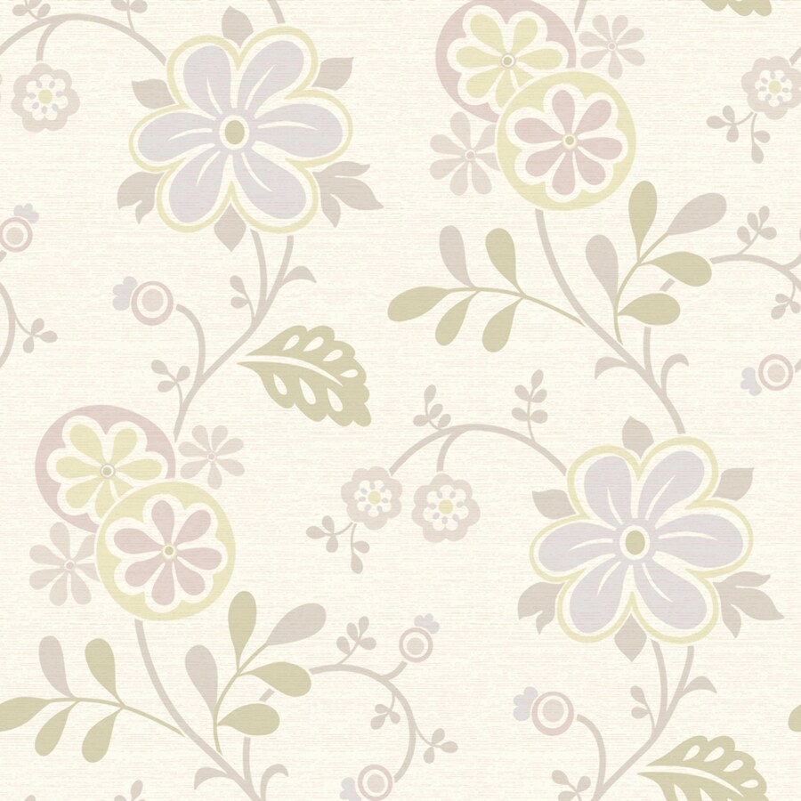 Brewster Wallcovering Simple Space 2 White/Purple Non-Woven Floral Wallpaper