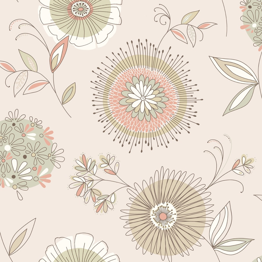 Brewster Wallcovering Simple Space 2 56-sq ft Beige Non-Woven Floral  Wallpaper