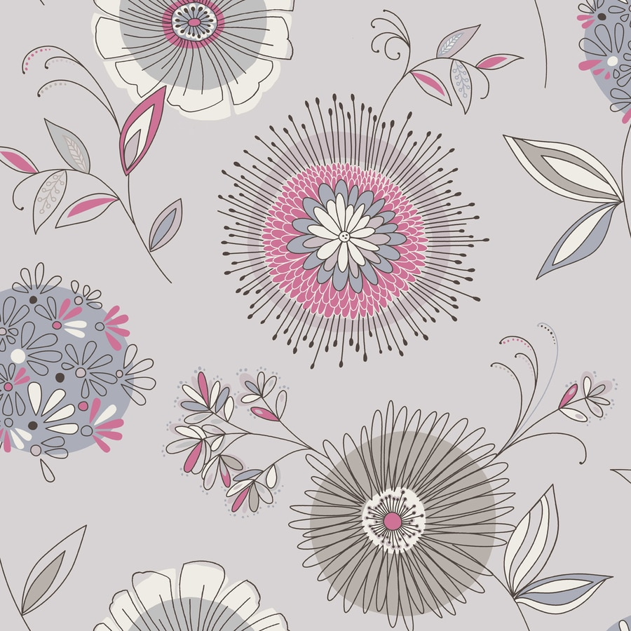 Brewster Wallcovering Simple Space 2 Gray/Blue Non-Woven Floral Wallpaper