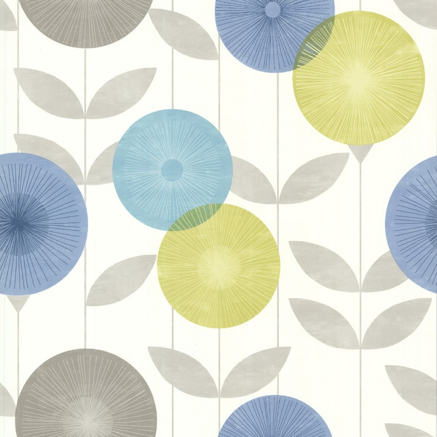 Brewster Wallcovering Blue-Green Classic Floral Wallpaper