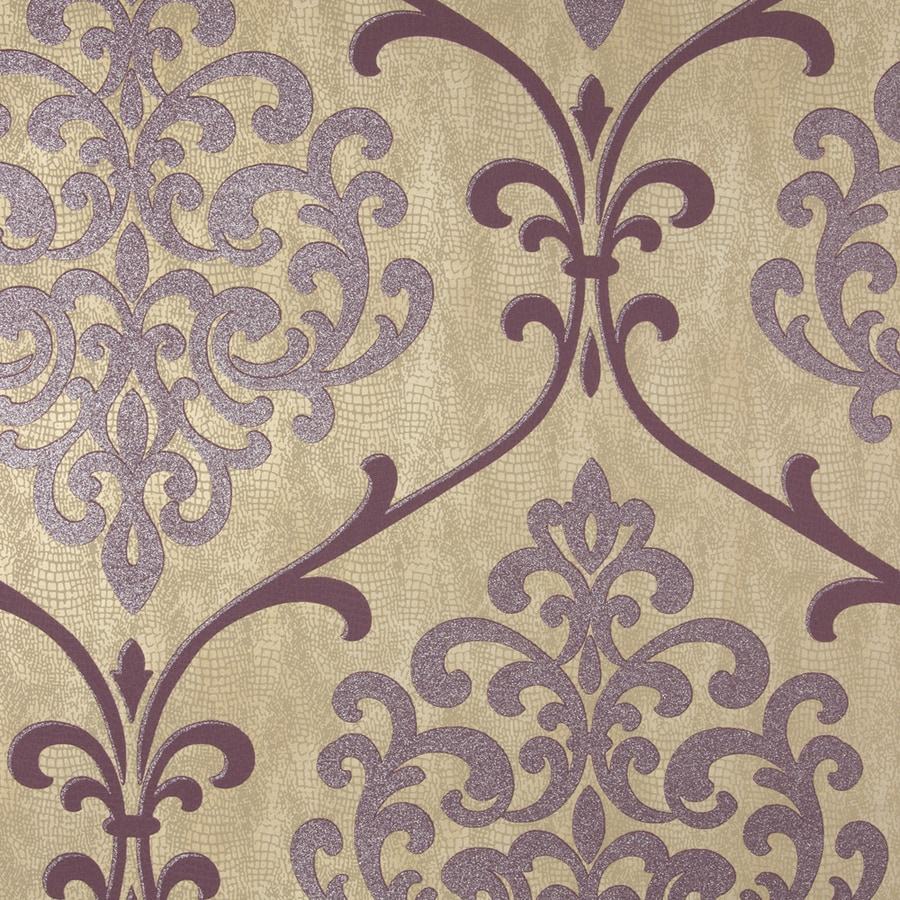 Brewster Wallcovering Mauve Classic Damask Wallpaper