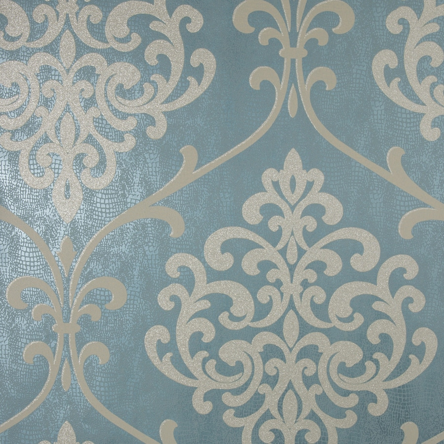 Brewster Wallcovering Teal Classic Damask Wallpaper