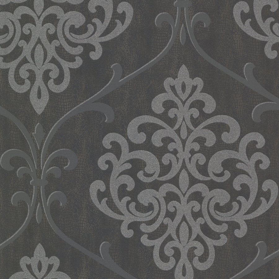 Brewster Wallcovering Sparkle Charcoal Non-Woven Damask Wallpaper