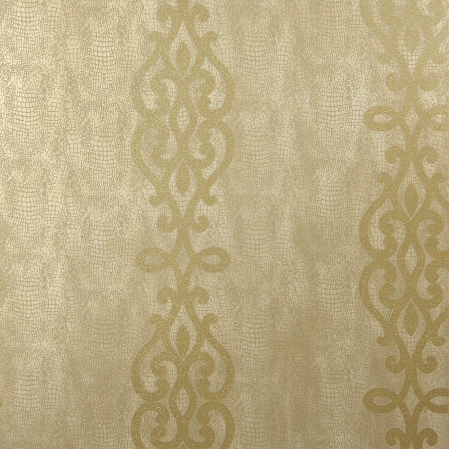 Brewster Wallcovering Sparkle 56-sq ft Brass Non-Woven Stripes  Wallpaper