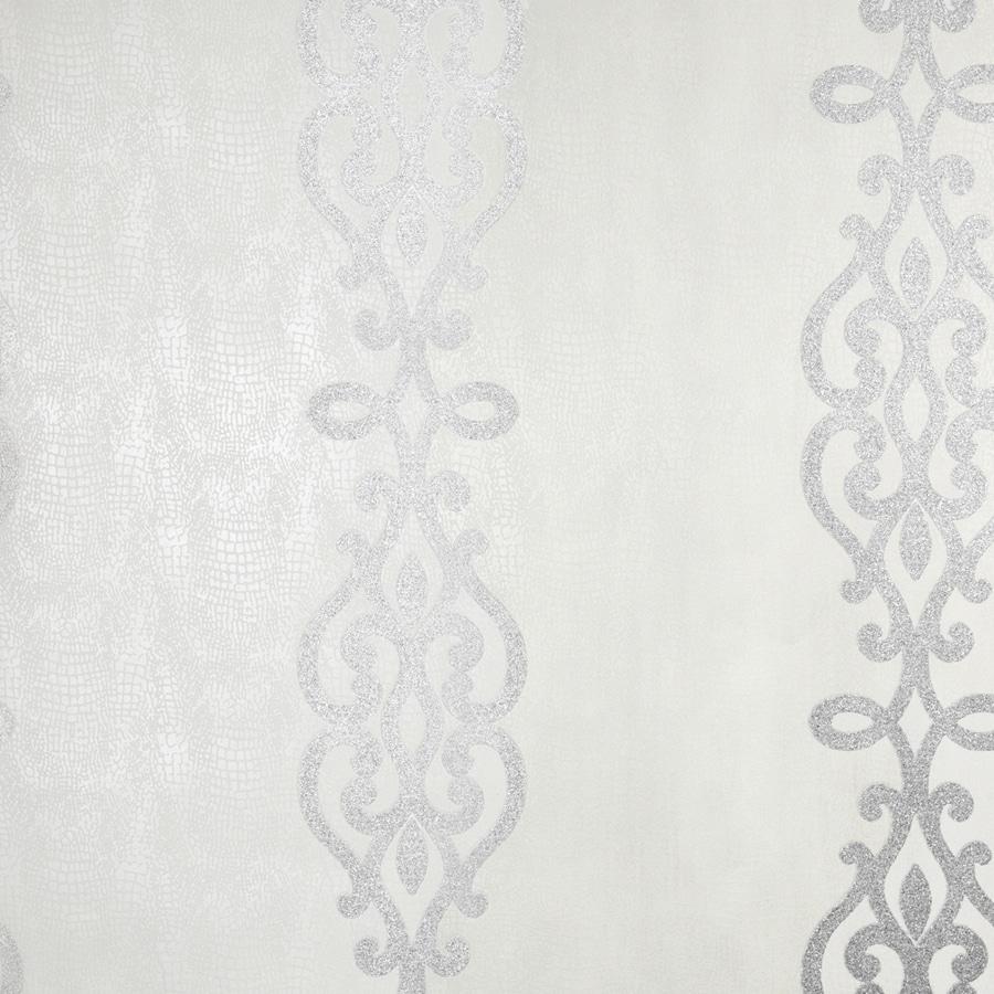 Brewster Wallcovering Sparkle Silver Non-Woven Stripes Wallpaper