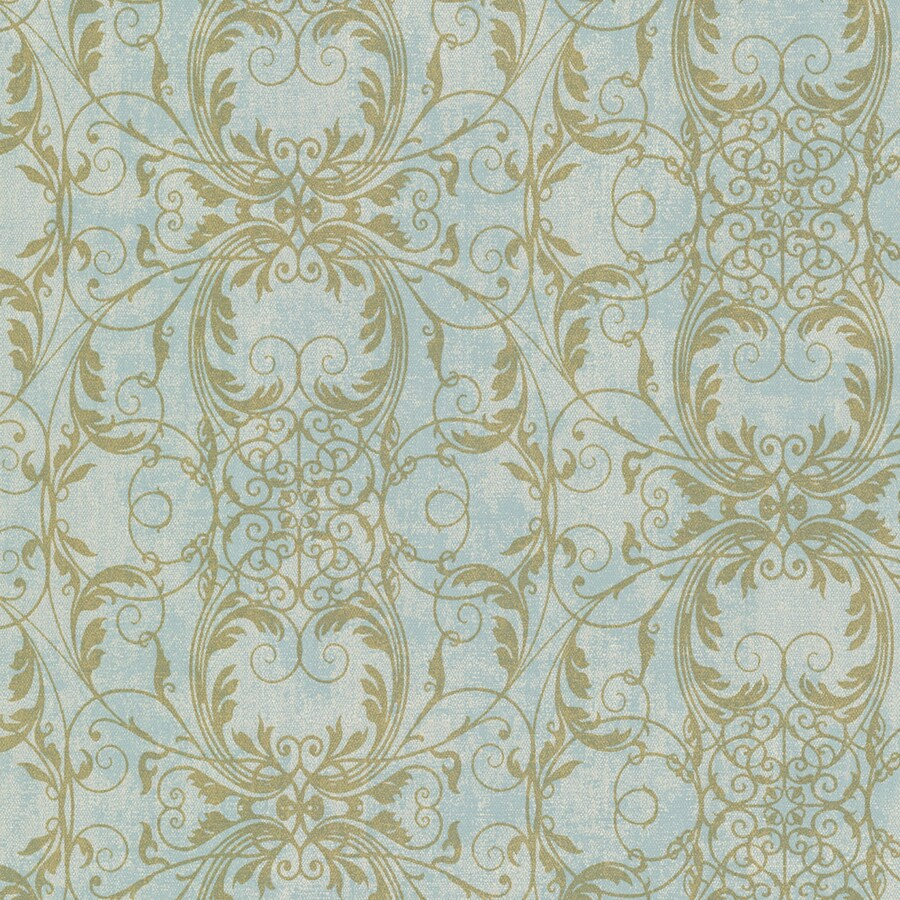 Brewster Wallcovering Sparkle Turquoise Non-Woven Damask Wallpaper