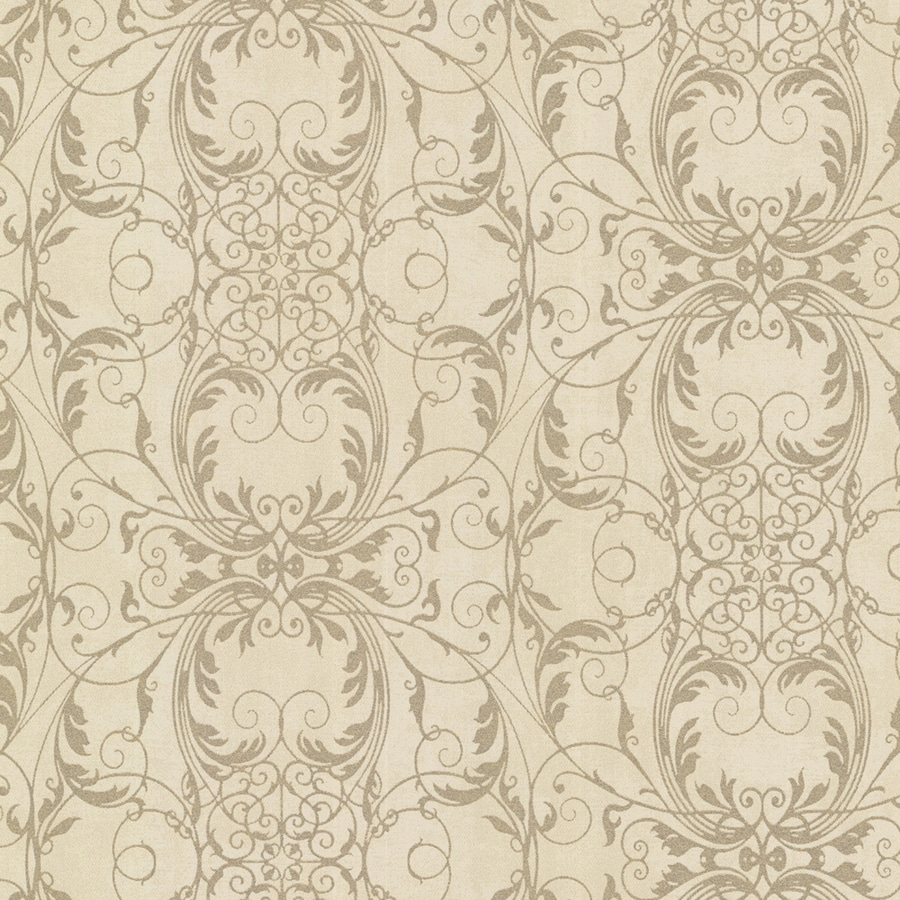 Brewster Wallcovering Sparkle Brass Non-Woven Damask Wallpaper