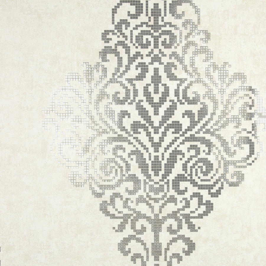 Brewster Wallcovering Sparkle 56-sq ft Silver Non-Woven Damask  Wallpaper