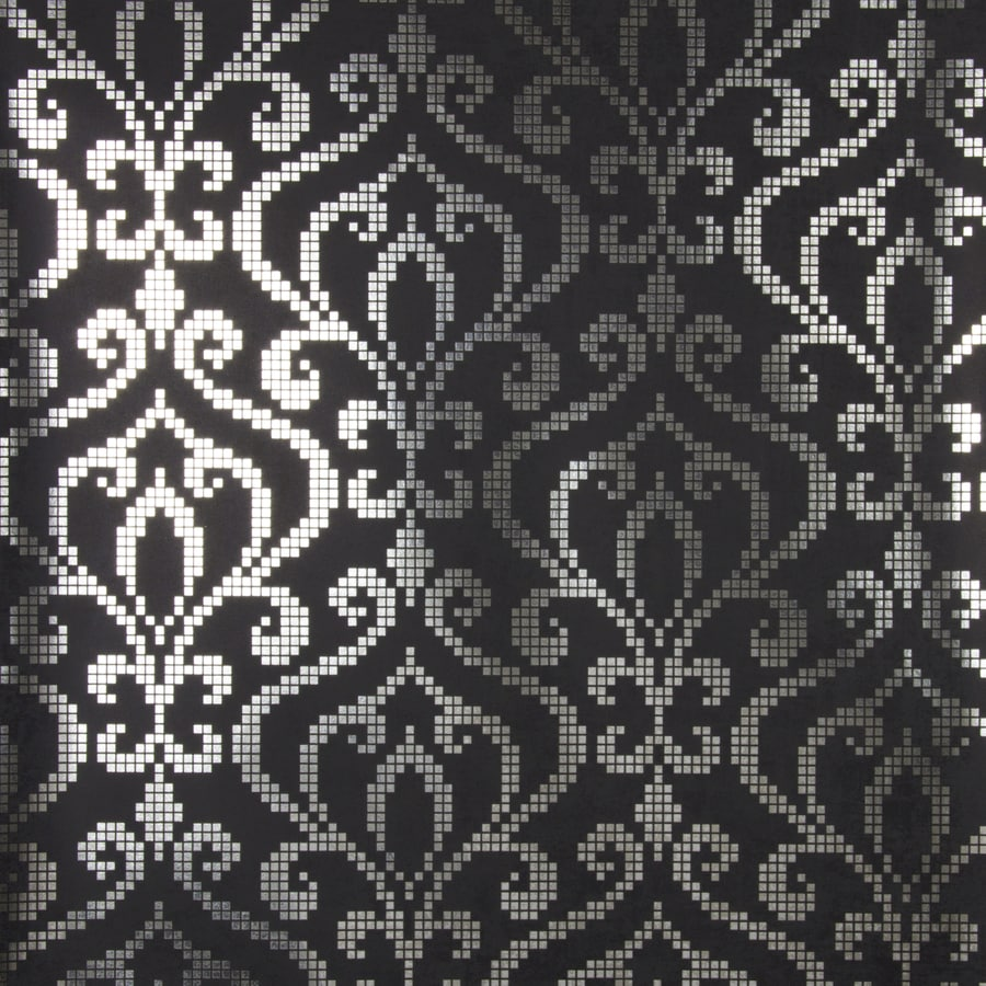 Brewster Wallcovering Charcoal Classic Damask Wallpaper