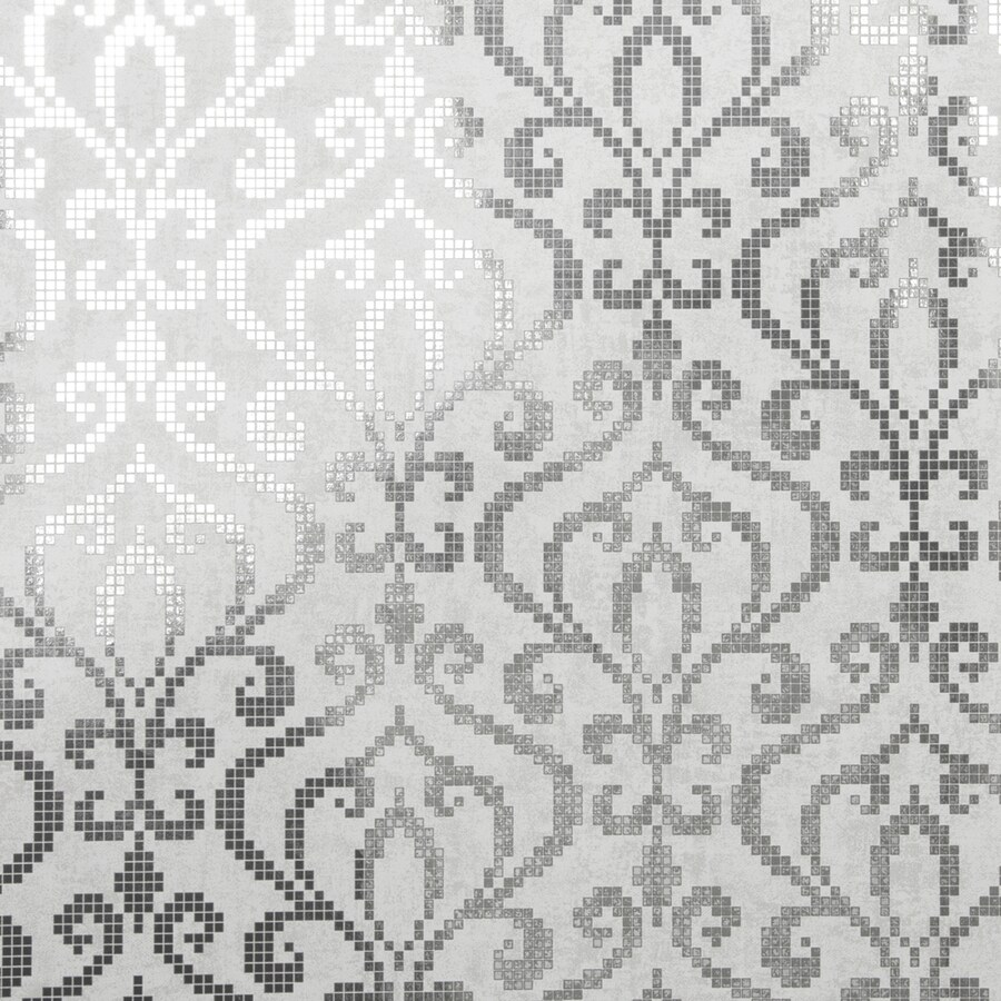 Brewster Wallcovering Sparkle Silver Non-Woven Damask Wallpaper