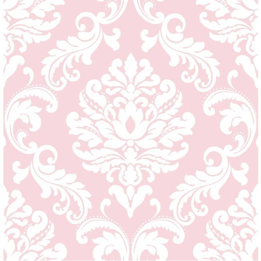 WallPops Peel and Stick Pink Vinyl Damask Wallpaper