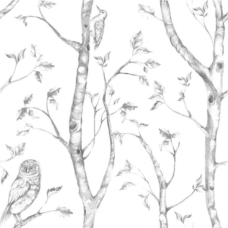 WallPops Peel and Stick Grey Vinyl Floral Wallpaper