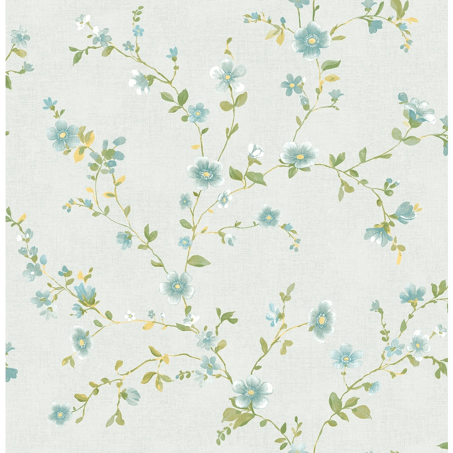 Brewster Wallcovering Ami 56-sq ft Light Blue Non-Woven Floral  Wallpaper