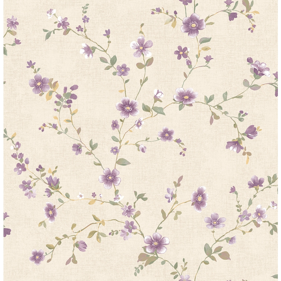Brewster Wallcovering Plum Classic Floral Wallpaper
