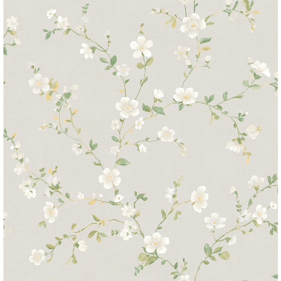 Brewster Wallcovering Ami White Non-Woven Floral Wallpaper
