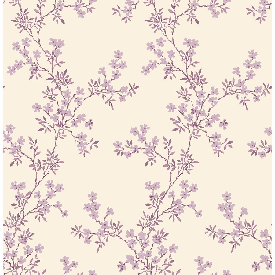 Brewster Wallcovering Ami Purple Non-Woven Floral Wallpaper