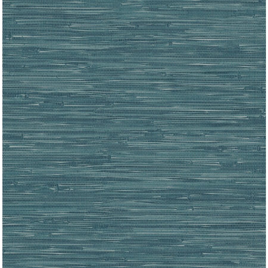 Shop brewster wallcovering ami teal non woven grasscloth for Vinyl grasscloth wallpaper bathroom