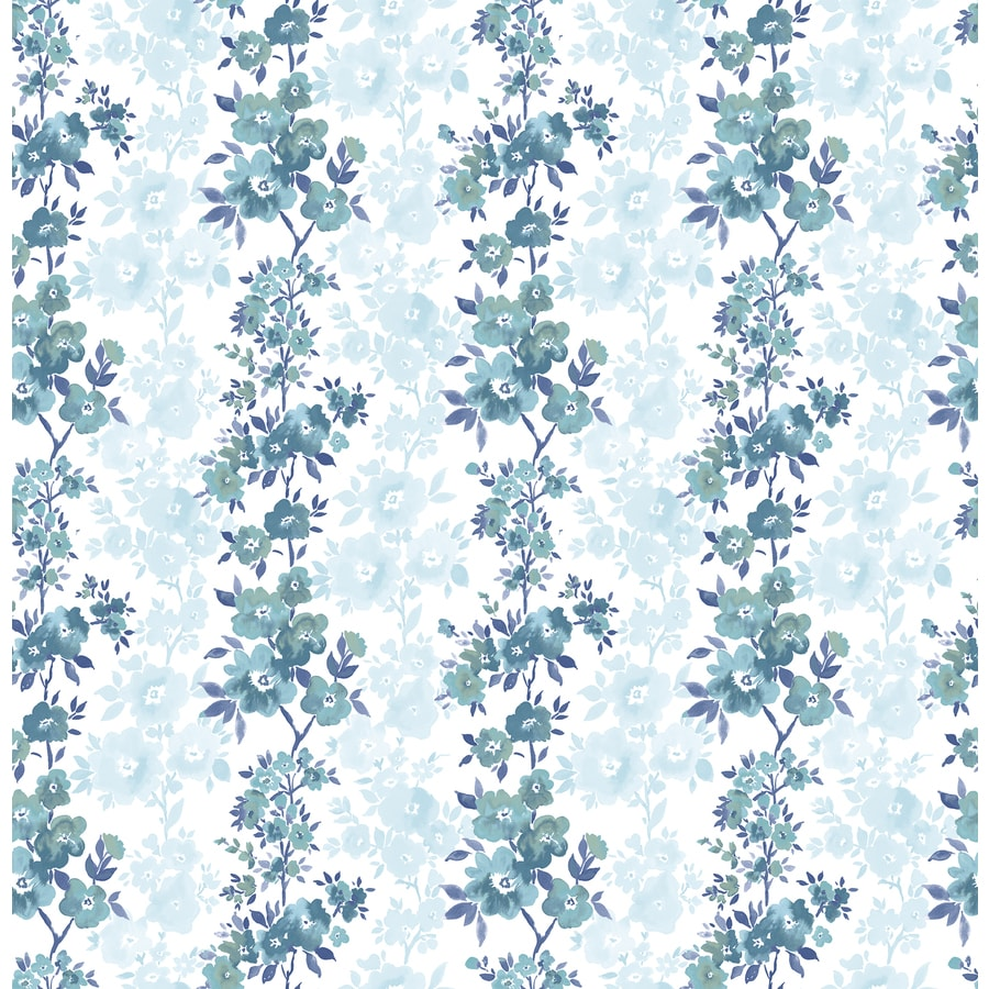 Brewster Wallcovering Ami Blue Non-Woven Floral Wallpaper